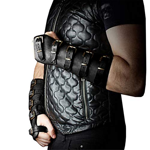 Roller Buckle Wristband Bracer Pleather Arm Guard Armor Cuff Punk Gothic Medieval Costume Gauntlet...