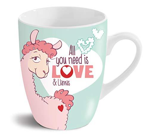 NICI 42712 Porzellantasse Lama All You Need is Love and Llamas, 8 x 10 cm, weiß mit Buntem Aufdruck, Füllvolumen 310 ml (gefüllt bis ca. 1 cm unter den Rand)