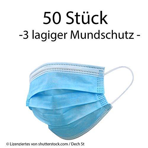 Einweg Mundschutz 3-Lagig Staubschutz mit Ohrschlaufen (50 x Pack 3-lagiger Mundschutz)