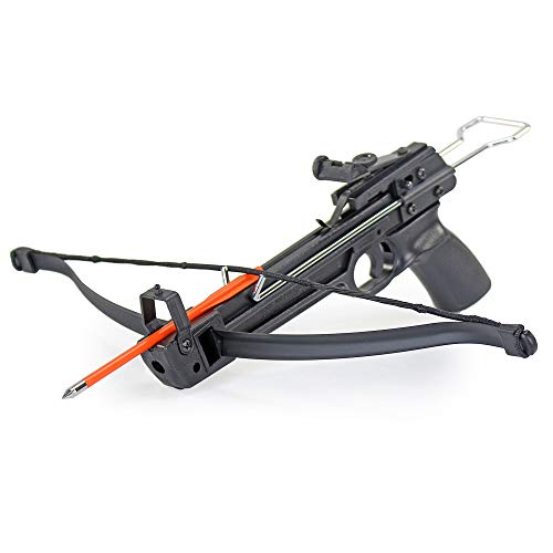KingsArchery Crossbow Pistol Self-Cocking 50 Lbs Fast Shot Adjustable Sights, Arrow Bolts, and Safety Feature