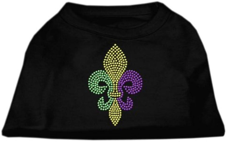 Mirage Pet Products Mardi Gras Fleur De Lis Rhinestone Dog Shirt, Medium, Black