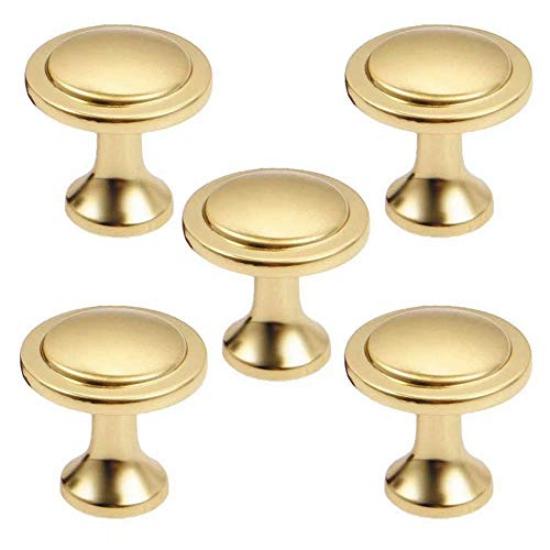 FBSHOP(TM) Lot de 5 boutons de porte ronds vintage en nickel brossé pour tiroir, commode, armoire de cuisine - 25 mm