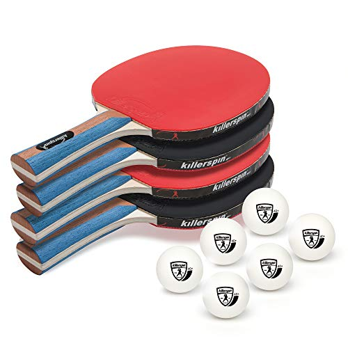 Killerspin Jetset 4 Premium Set - Table Tennis Set with 4 Ping Pong Paddles with Premium Rubbers and 6 Ping Pong Balls