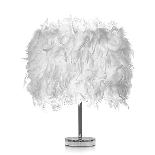 Modern Federn Nachttischlampe, Elegante Feather Lampenschirm und Metall Helle Karosserie, Retro Schlafzimmer Wohnzimmer moderne Lichter