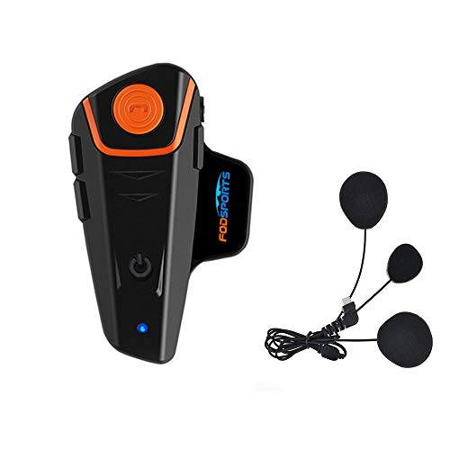 Fodsports Motorrad Bluetooth Gegensprechanlage Motorradhelm Kommunikation Walkie-Talkie Intercom Headset mit 1000m, GPS, FM Radio, MP3 Player, Verbinden bis zu 3 Reiter (1 Pack with Soft Cable)