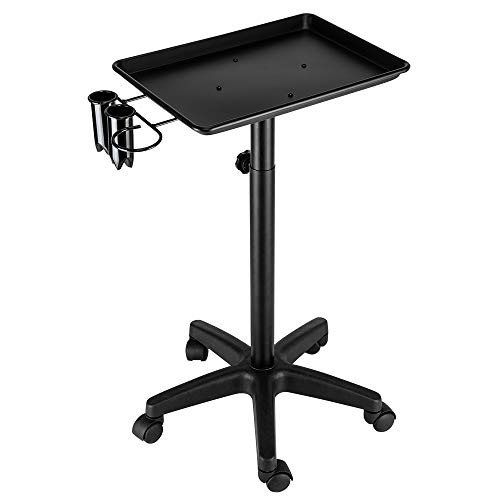 Mefeir Salon Rolling Aluminum Tray Cart on Wheels for Hair Stylist Hairdressing Tool Storage Trolley with Accessory Caddy Hair Coloring Beauty SPA Service Holder Station