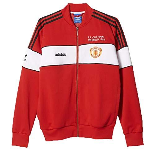 Adidas - Sudadera con capucha y camiseta de chándal del Manchester United 1985 (talla S), color rojo y blanco