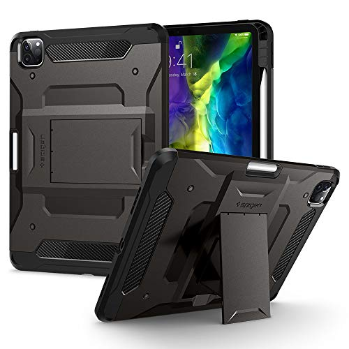 Spigen Tough Armor Pro Compatible with iPad Pro 11 Inch Case with pencil holder (2020/2018) - Gunmetal