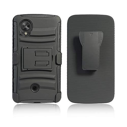 Cocomii Striped Belt Clip Holster LG Nexus 5 Case, Slim Thin Matte Kickstand Swivel Belt Clip Holster Reinforced Drop Protection Fashion Phone Case Bumper Cover Compatible with LG Nexus 5 (Black)