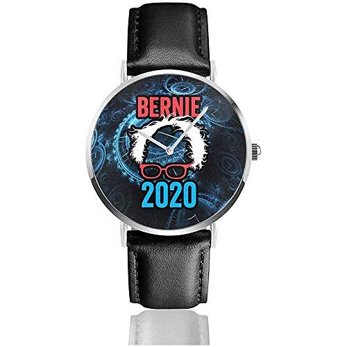 ber -nie San -ders 2020 para Presidente Reloj con Correa de Cuero Reloj Casual de Cuarzo de Acero Inoxidable