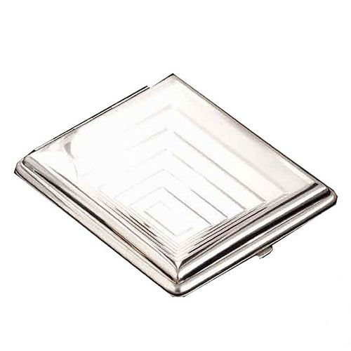 Zigarettenetui 24er mit Innengummizug aus Metall vernickelt poliert in silber glänzend mit Dekor