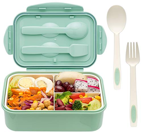 Bento Boxes for Adults - 1100 ML Bento Lunch Box For Kids Childrens With Spoon & Fork - Durable, Leak-Proof for On-the-Go Meal, BPA-Free and Food-Safe Materials
