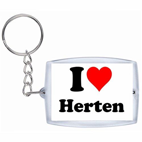 Druckerlebnis24 Schlüsselanhänger I Love Herten in Weiss - Exclusiver Geschenktipp zu Weihnachten Jahrestag Geburtstag Lieblingsmensch