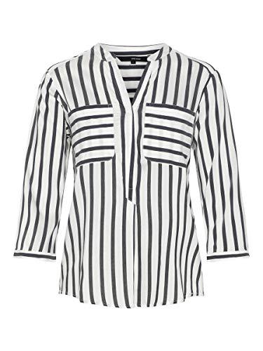 VERO MODA Damen Hemd mit 3/4 Ärmeln Gestreiftes MSnow White 1