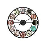 Reloj de Pared Reloj de Pared Mudo de Metal de Hierro Forjado, Reloj Creativo de Sala de Estar Retro Europeo, Reloj de Estudio for Sala de Estar Moderno Decoración de la Sala Cocina