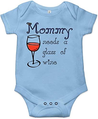 Toll2452 Mamá necesita una copa de vino lindo divertido bebé bebé traje recién nacido