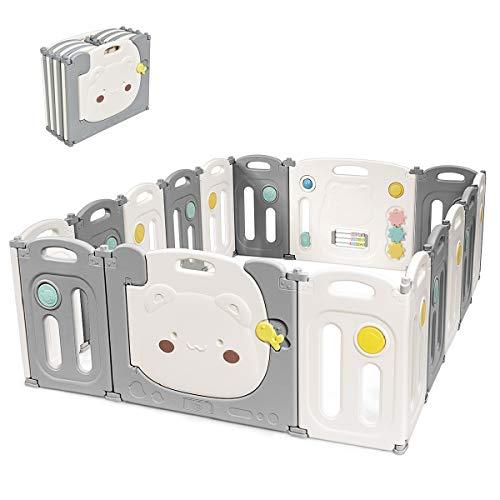 Costzon Baby Playpen, 16 Panel Foldable Thicken...
