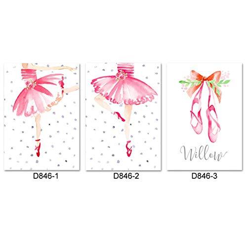 Zhaoyangeng dans kinderkamer muurkunst roze ballerina canvas schilderij meisje kamerdecoratie ballet baby meisje afbeelding voor slaapkamer-50X70Cmx3 stuks No Frame