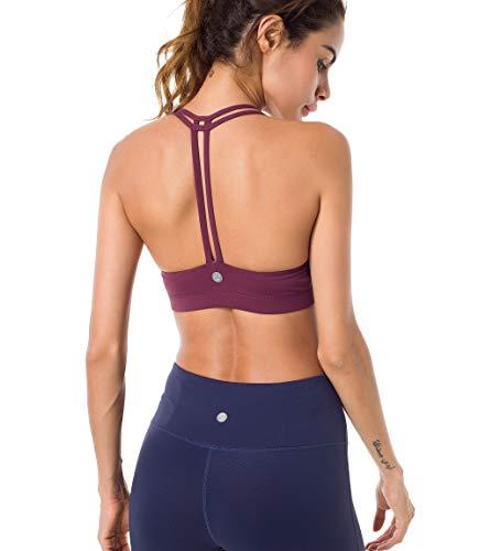 QUEENIEKE Damen leichte Unterstützung Doppel-T Rücken Kabellose Pad Yoga BH Farbe Rose Rot Größe M(8/10