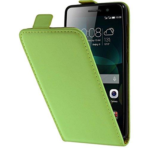 PhoneNatic Kunst-Lederhülle kompatibel mit Huawei Honor 4c - Flip-Hülle grün + 2 Schutzfolien