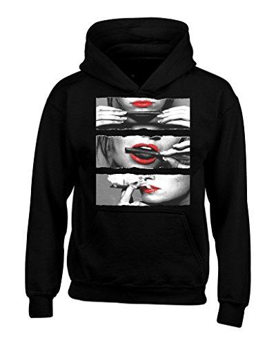 Shop4Ever Red Lips Smoking Blunt Hoodie Sweatshirts Medium Black 0