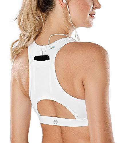SHAPERX Damen Sport BH Gepolstert Mittlere Unterstützung Fitness Yoga Bra Riemen Zurück Für Running,UK-DT150-White-2XL