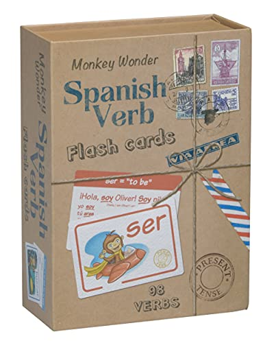 Spanish Flash Cards by Monkey Wonder - Learn Spanish with 98 Verbs Defined and Fully Conjugated, for Kids and Adults - Great Gift for Students