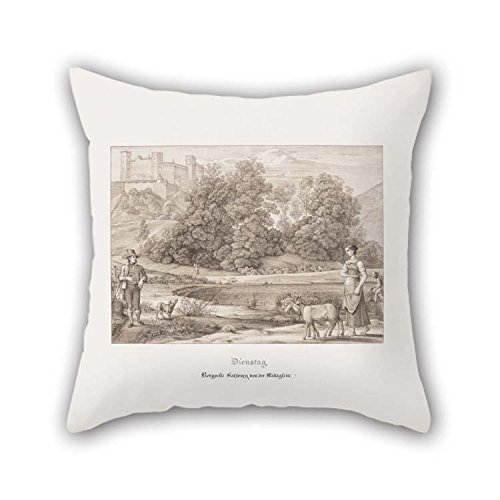 Cushion Covers Of Oil Painting Ferdinand Olivier, German - Tuesday. Mountain Fortress Of Salzburg From The Southside For Teens Boys Lover Bf Seat Play Room Boy Friend 18 X 18 Inches / 45 By 45 Cm(
