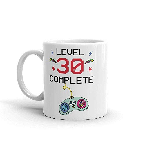 N\A Taza Completa de Nivel 30 Taza Divertida de Videojuegos Taza de Regalo de cumpleaños número 30 Taza 30 Taza de café