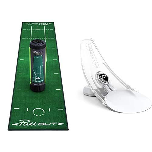 PuttOut Unisex– Erwachsene Puttingmatten, Grün, One Size & Pressure Putt Trainer Perfektionieren Sie Ihr Golf-Putting, schwarz, 11 x 21 x 14.5 cm