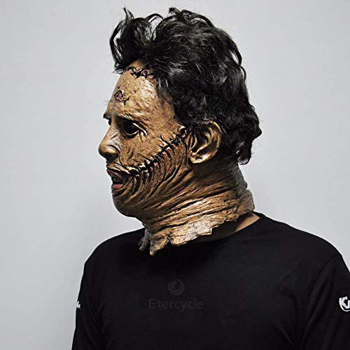 QHWJ Texas Chainsaw Massacre Full Head Latex Mask,Scary Movie Halloween Cosplay Costume Props