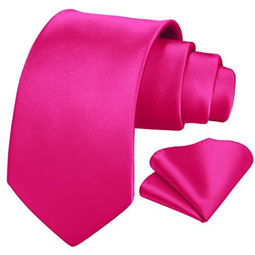 HISDERN solide rosa Krawatte Taschentuch Hochzeitsfeier klassische Krawatte Einstecktuch Set