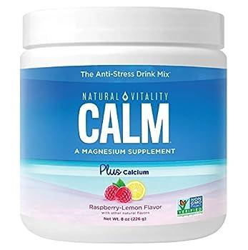 Natural Vitality Calm Plus Calcium Magnesium Citrate Supplement Powder Anti-Stress Drink Mix Raspberry Lemon 8 Ounces