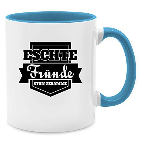 Statement Tasse - Kölner Sprichwort - Eschte Fründe ston zesamme - schwarz - Unisize - Hellblau - kölner kaffee - Q9061 - Kaffee-Tasse inkl. Geschenk-Verpackung