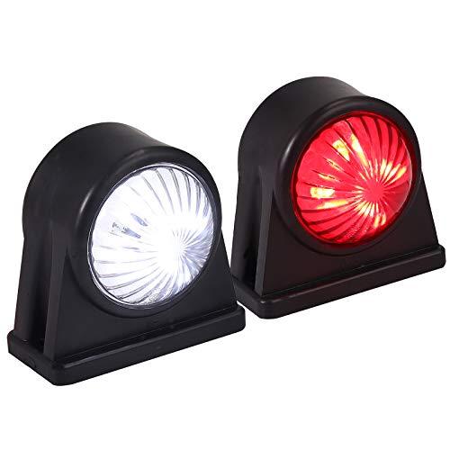 LiNKFOR 2X Gummi Begrenzungsleuchte Seitenleuchte Positionsleuchte Seitenleuchten Markierung mit E-Prüfzeichen 12/ 24V für Anhänger Auto LKW PKW KFZ 2x4LEDs Leuchte