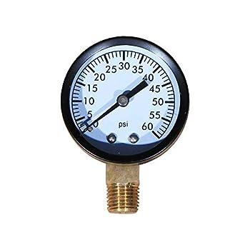 Daveyspa Pool and Spa Filter Pressure Gauge 0-100 PSI 1/4  NPT Lower Mount Pressure Gauge for Water Oil Gas  60Psi