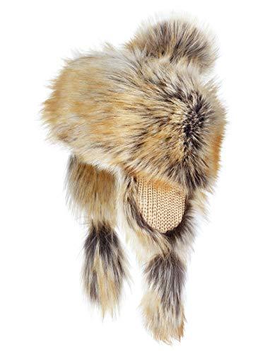 Futrzane Montagna Cappello Pelliccia Pom Pom Donna D'inverno (Volpe Rossa)