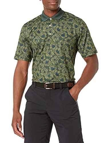 Amazon Essentials Men's Regular-Fit Quick-Dry Golf Polo Shirt, Olive Hibiscus, Medium