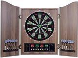XQHD Dartboard Elettronico con Cabinet Freccette Set Professional 27 Giochi E 243 Variazioni Freccette 12 Freccette con Tabellone Segnapunti all'Interno per 16 Giocatori,Wood