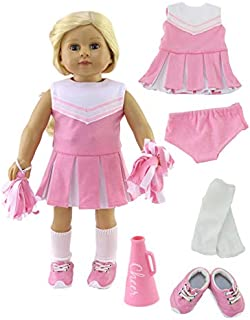 Pink Cheerleader Outfit Cheerleading Uniform with Dress, Bloomers, Poms, Megaphone, Socks, and Shoes | Fits 18