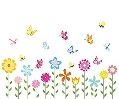 Garden Flower Wall Decals Flower Wall Stickers for Kids Baby Nursery Decor Bright Butterfly Garden Wall Art Floral Wallpaper