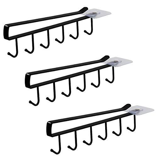 6-Hook Under Cabinet Mug Hanger (3pcs, Black)