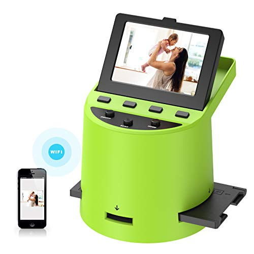 "Unique Digital Film Scanner with 22MP, Converts 35mm, 126, 110, Super 8 Films, Slides, Negatives to JPEG, Tilt-Up 3.5"" LCD, Transfer Pictures to Phones Via WiFi Connection, MAC and PC Compatible"