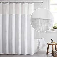Bedsure Fabric White Waffle Weave Shower Curtain