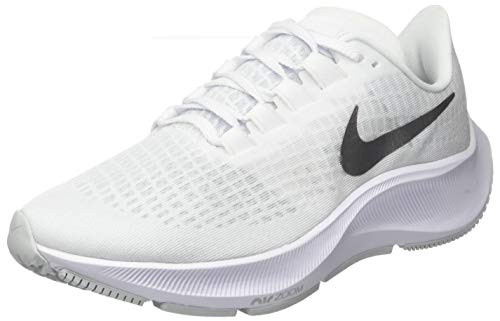 Nike Women's WMNS Air Zoom Pegasus 37 Running Shoe, White/Metallic Silver-Aura, 6.5 UK