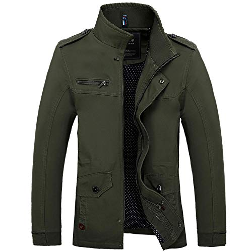 Mens Fitted Soft Real Leather Biker Jacket Vintage Casual Coat Men's jacket mid-length-army green_M
