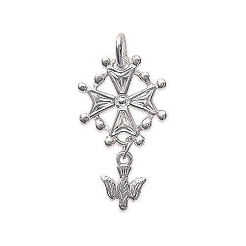 Pendentif en Argent 925/000 - Croix Huguenotte - Bijoux Femme Homme Mixte
