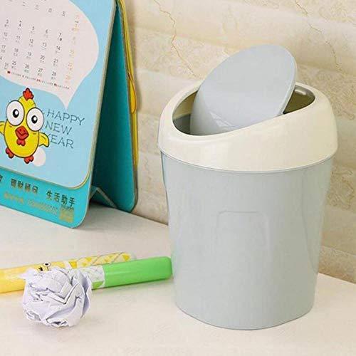 JUECAN Mini kleine draagbare Bin cover creatieve bureau vuilnisbak mooie Bad Office afvalmand, blauw