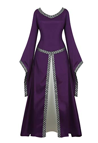 Famajia Womens Renaissance Costumes Medieval Irish Over Dress Victorian Retro Gown Cosplay Long Dress Purple Large