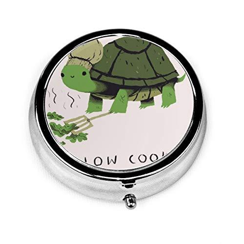 Anime Sea Turtle Slow Cooker Custom Fashion Silver Round Pill Box Medicine...